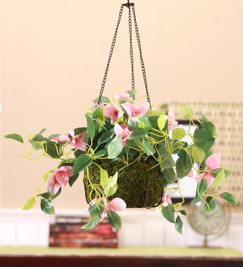 Pink Synthetic Tall Bougainvillea Hanging Basket Decorative Artificial Plant by Fourwalls