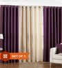 Multicolour Polyester 84 x 48 Inch Solid Eyelet Door Curtain - Set of 3 by PIndia