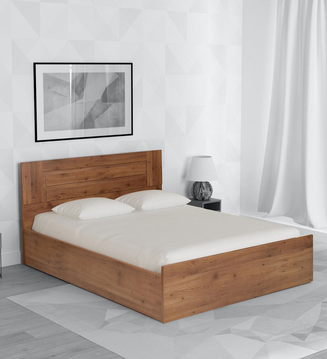 Buy Platina Knotty King Size Bed With Storage In Knotty Wood Teak Finish By Crystal Furnitech Online Modern King Size Beds Beds Furniture Pepperfry Product
