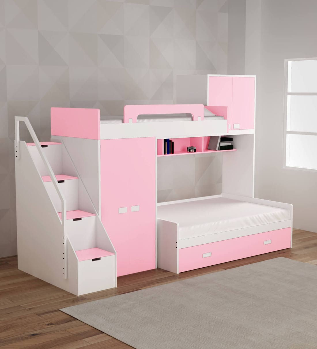 Picture of: Buy Play Kids Bunk Bed In Pink Colour By Alex Daisy Online Bed Units Kids Furniture Kids Furniture Pepperfry Product