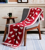 Chirping Birds Red Cotton Single Throw Blanket