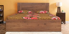 Platina Knotty Queen Size Bed with Box Storage in Knotty Wood & Teak Finish