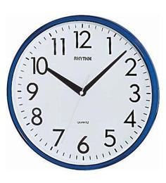 Plastic 10.3 X 1.8 X 10.3 Inch Plastic Wall Clock 3D Numerals Analog Dark Blue Clock