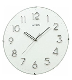 Plastic 11.8 X 1.8 X 11.8 Inch Wall Clock 3D Numerals Convex Glass Metal Logo Silent Silky Move Analog Clock