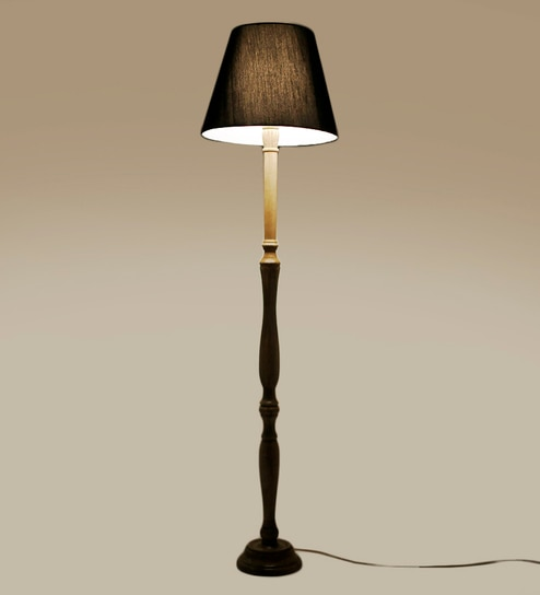 Buy plain black wooden fabric floor lamp by craftter online black acrylic fused with cloth floor lamp by craftter aloadofball Images