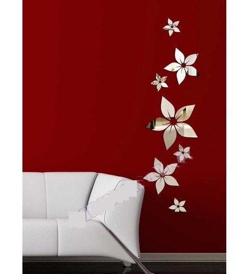 Buy Planet Decor Flowers Acrylic Mirror Wall Sticker Online - Mirror ...