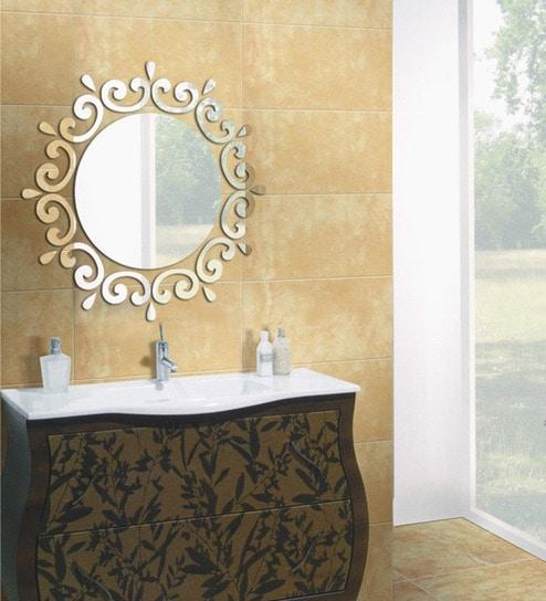 Buy Planet Decor Silver Acrylic Modern Wall Mirror Online - Mirror ...
