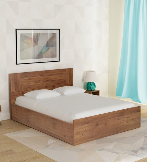 Buy Platina Knotty King Size Bed with Box Storage in Knotty Wood ...