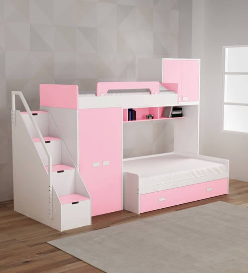 Buy Play Kids Bunk Bed In Pink Colour By Alex Daisy Online Bunk