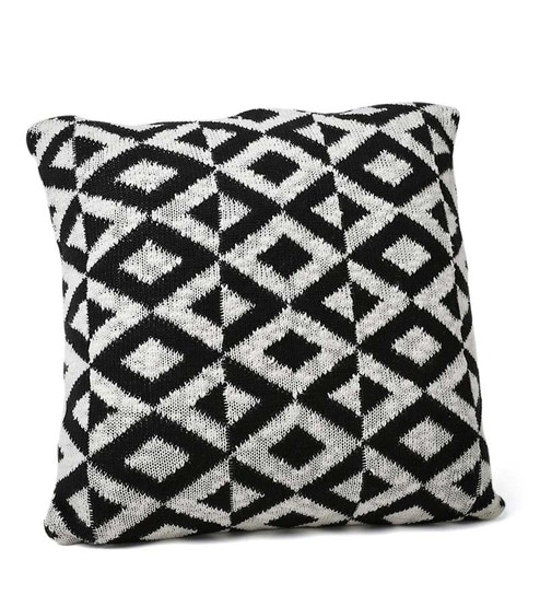 Buy Black White Cotton 18 X 18 Inch Noel Knitted Cushion Cover By