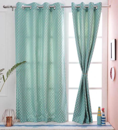 Plus Design Blue Color Dupion Silk Premium Eyelet 5 X38 Feet Window Curtain By