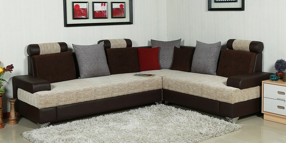 Platino Corner Sofa In Brown & Ivory Colour by Parin