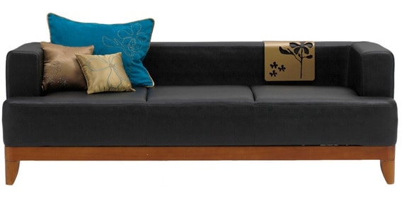 Charmant Plunge Three Seater Synthetic Leather Sofa In Black Colour By Godrej Interio