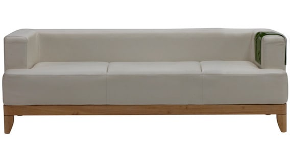 Exceptionnel Plunge Three Seater Synthetic Leather Sofa In White Colour By Godrej Interio