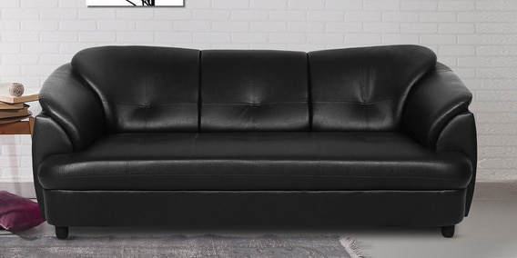 Plymouth Three Seater Sofa In Black Leatherette By Urban Living