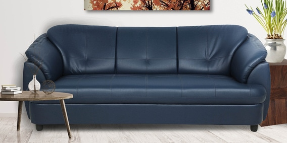 Plymouth Three Seater Sofa In Valencia Blue Leatherette By Urban Living