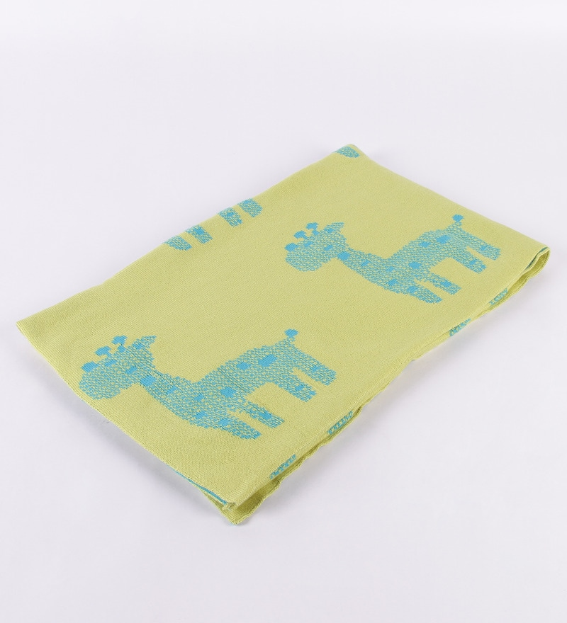Baby Giraffe's Green Cotton 39 x 31 Inch Single Baby Blanket by Pluchi