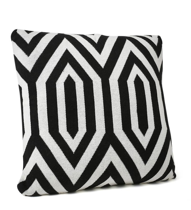 Black & White Cotton 18 x 18 Inch Egyptian Knitted Cushion Cover by Pluchi