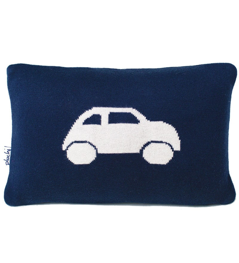 Car Cushion Pillow in Dark Navy & Natural Colour by Pluchi