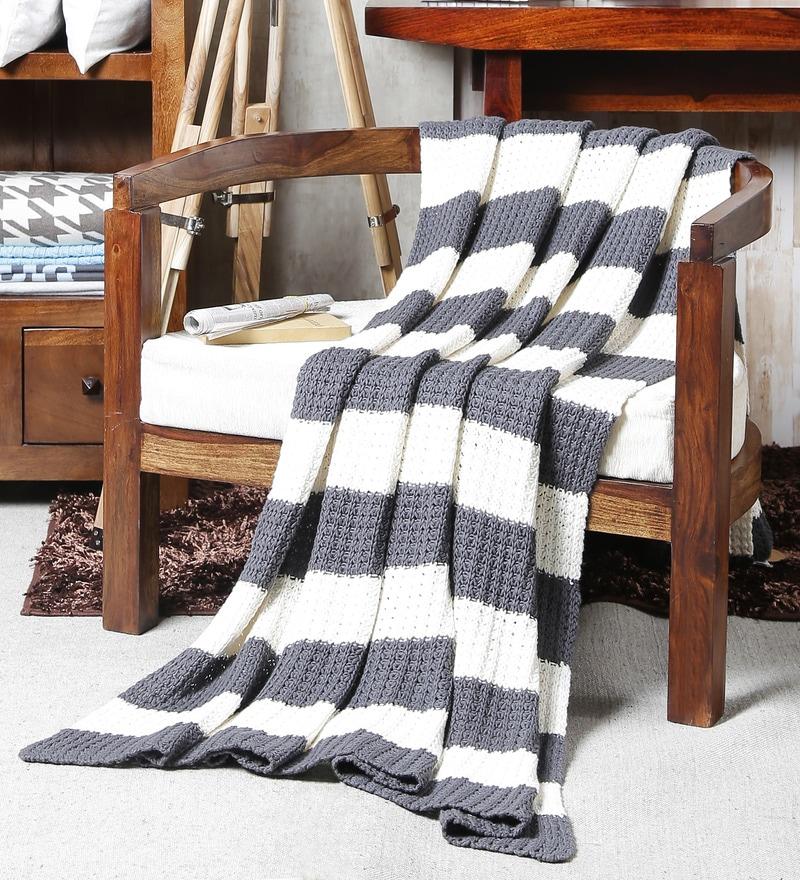 Coastal Gray Cotton Single Throw Blanket by Pluchi