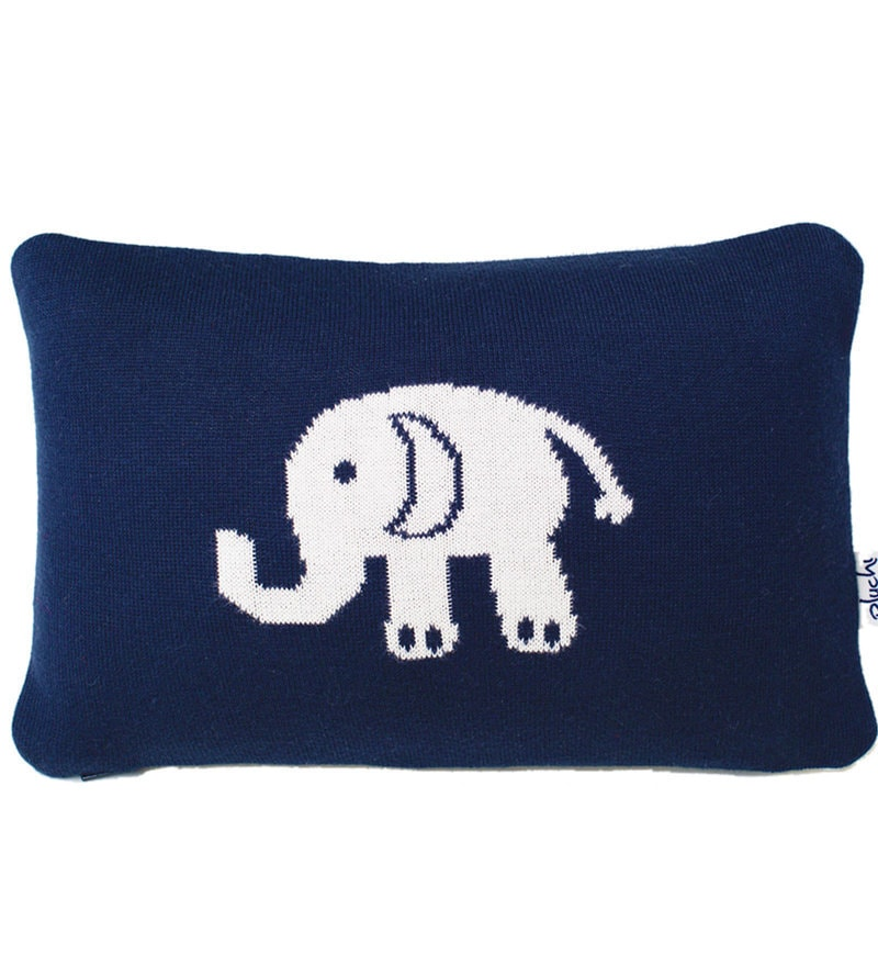 Elephant Cushion Pillow in Dark Navy & Natural Colour by Pluchi