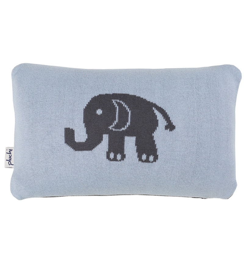 Elephant Cushion Pillow in Sea Blue & Natural Colour by Pluchi