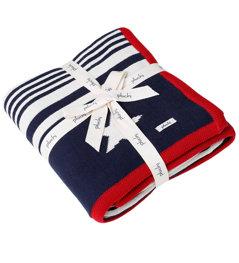 The Star Walk Baby Blanket in Dark Navy, Natural & Red Colour by Pluchi