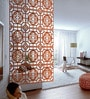Planet Decor Brown Acrylic with Wooden Lamination Flowery Room Divider