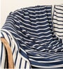 Boris Queen-Size Throw Blanket in Navy Blue & White Colour by Pluchi