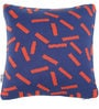 Pluchi Dominos Cushion Pillow in Marine & Rusty Red Colour