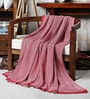 Pink Cotton Herringbone Throw by Pluchi