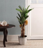 Green Polyester Artificial Banana Plant with Pot