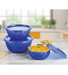 Pogo Blue Stainless Steel Dimple Microwave Safe Bowls - Set Of 3