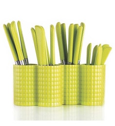 Pogo Opera Stainless Steel Green Cutlerys With Stand - Set Of 24