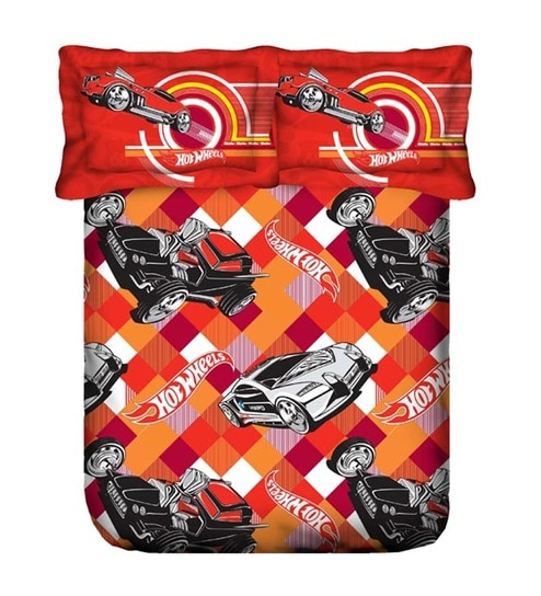 Portico Hot Wheels Red Single Bedsheet With One Pillow Covers