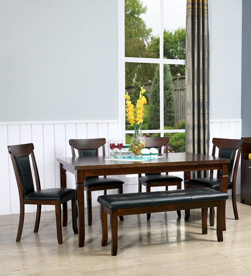 Polita Solid Wood Six Seater Dining Set In Espresso Colour By Home