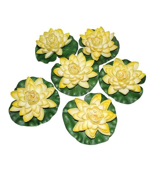 Pollination Shaded Yellow Big Floating Faux Lotus Set Of 6 By