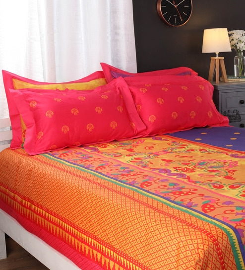 Portico New York Blues Indian Ethnic Cotton King Size Bed Sheets   Set Of 5