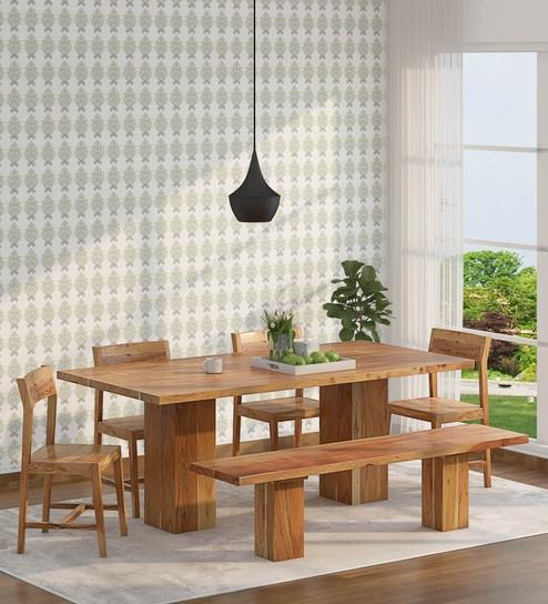 Portland Solid Wood 6 Seater Dining Set, Natural Furniture Portland
