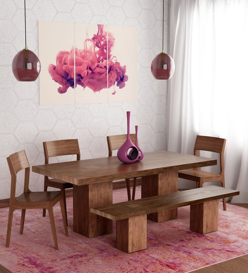 Portland Solid Wood Six Seater Dining Set In Premium Acacia Finish By Woodsworth