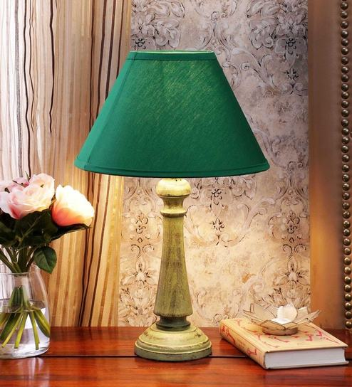 Green Cotton Table Lamp By CasaCraft