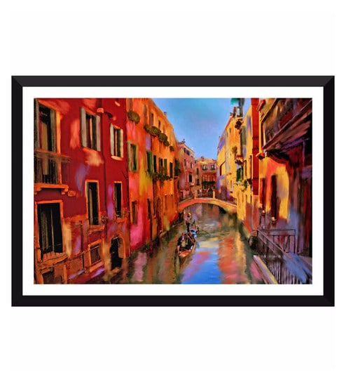 Poster Paper 17 x 11 Inch Painting of Gondola Ride in Venice Framed Poster  by Tallenge