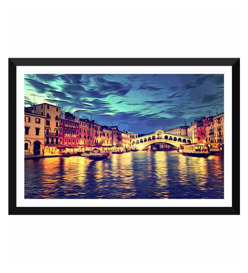 Poster Paper 17 x 11 Inch Surreal View of Venice Grand Canal Digital  Painting Framed Poster by Tallenge