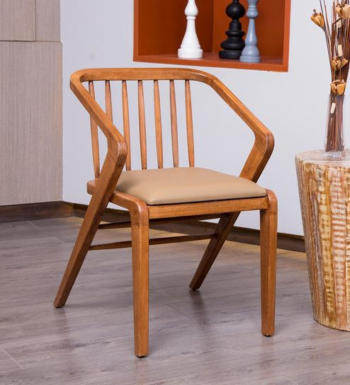 Pepperfry & Potra Solid Wood Dining Chair in Walnut Colour by F9 Furnichair