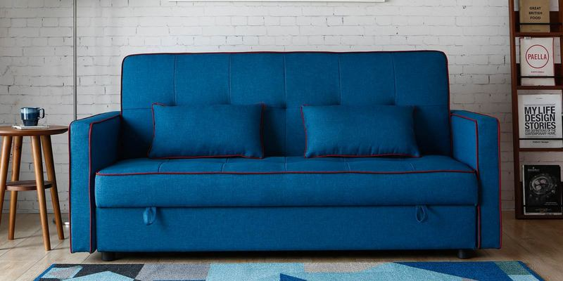 Porto Three Seater Sofa cum Bed with Storage in Blue Colour by CasaCraft