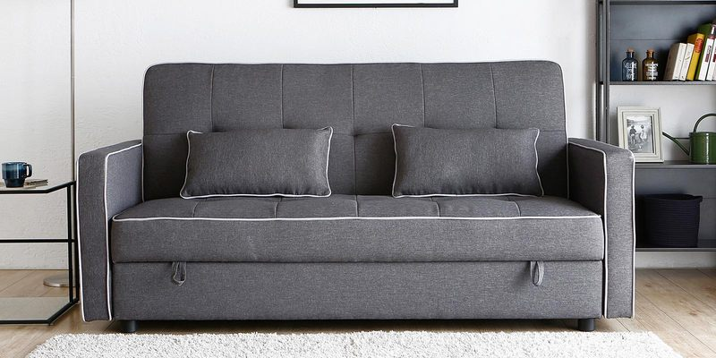 Porto Three Seater Sofa cum Bed with Storage in Dark Grey Colour by CasaCraft