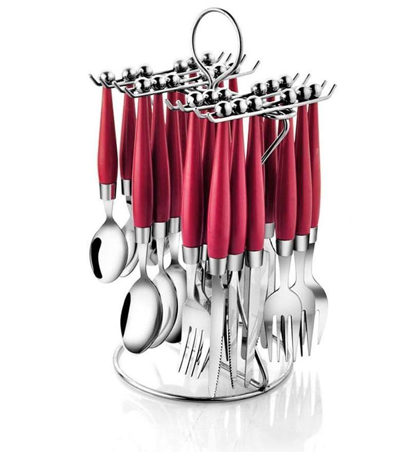 Pogo Orbit Stainless Steel 24 Pcs Cutlery Set- (Red)