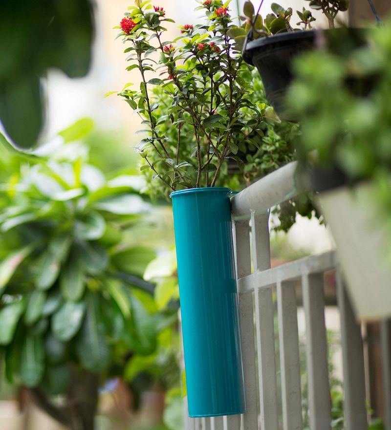 Hang on! Balcony Planter in Teal Blue by PoppadumArt