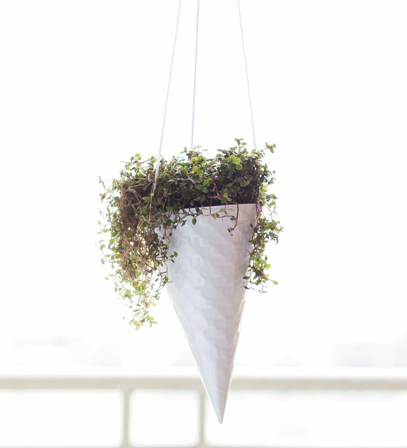 Iceincream Cone Planter in White by PoppadumArt