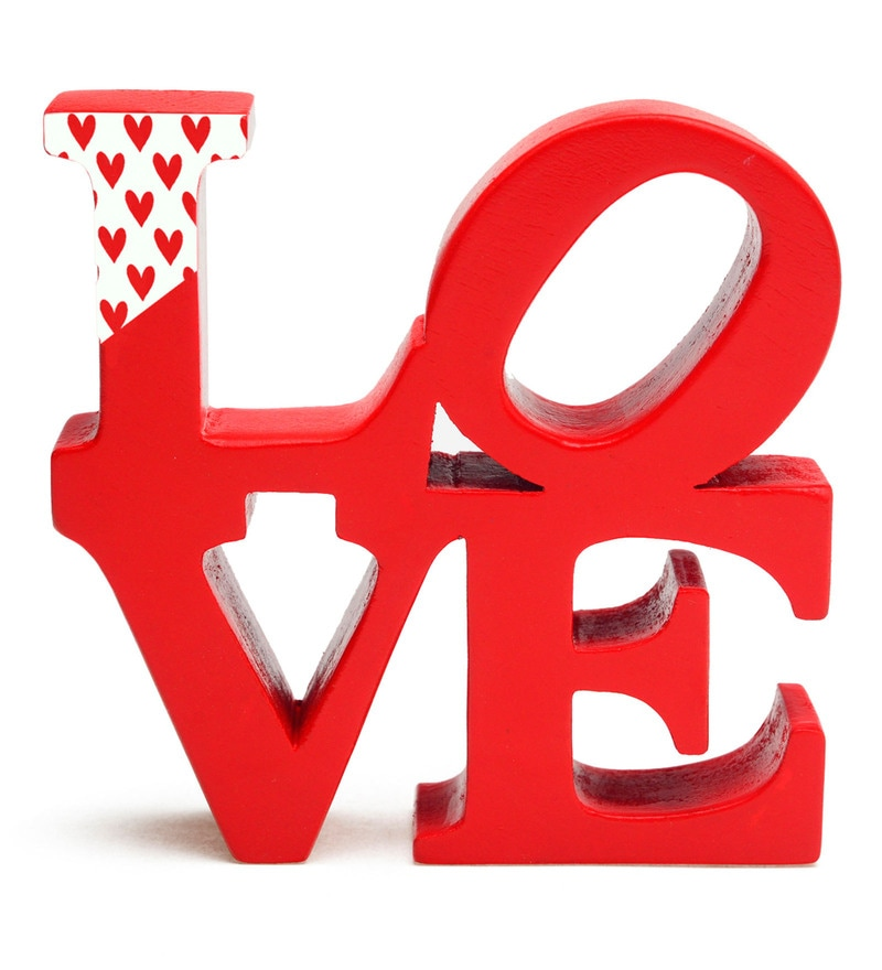 Red Wood Four Letter Words - Love Showpiece by PoppadumArt